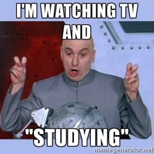 watching TV and studying