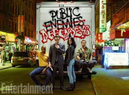 The Defenders, Mike Colter as Luke Cage, Charlie Cox as Daredevil, Krysten Ritter as Jessica Jones, and Finn Jones as Iron Fist, photographed for Entertainment Weekly on December 10th, 2016, by Finlay Mackay in Brooklyn, New York.