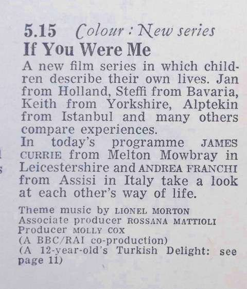 The Radio Times listing for the first episode