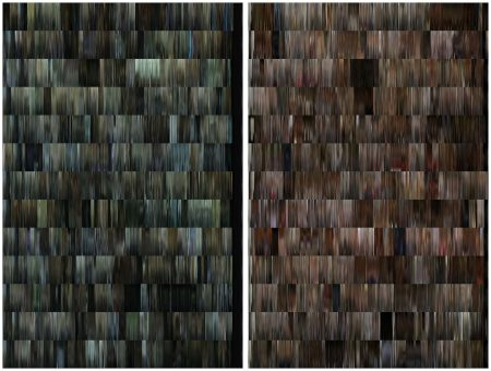 Fig 7: Left: DNA profile of season 1 of House of Cards. Each of the thirteen rows represents one episode. Right: DNA profile of season 1 of Mad Men
