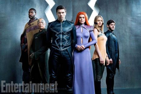 Figure 2: Official press photo for Inhumans released in May revealing (from left to right) Gorgon (Eme Ikwuakor), Karnak (Ken Leung), Black Bolt (Anson Mount), Medusa (Serinda Swan), Crystal (Isabelle Cornish) and Maximus (Iwan Rheon).