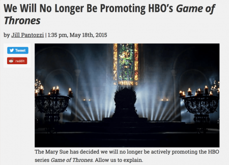 Popular feminism blog, The Mary Sue, for instance, raged against the scene and publically declared that 'we will no longer actively be promoting Game of Thrones […] rape is not a necessary plot device'