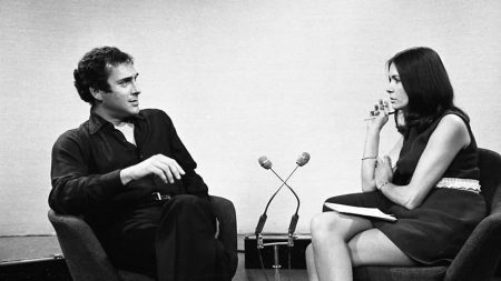 Harold Pinter joins Joan Bakewell for Late Night Line-up, 1969. Image: BBC