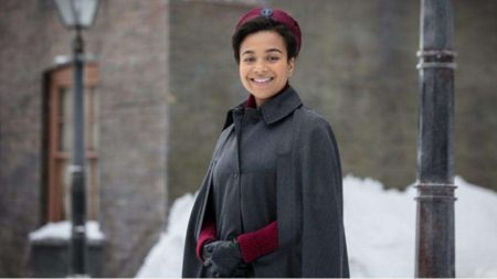 Leonie Elliott as Nurse Lucille Anderson in the forthcoming seventh series of Call the Midwife
