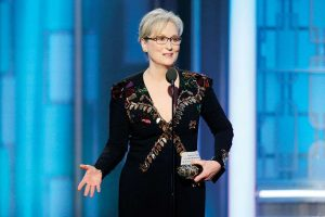 Meryl Streep Speaking at the 2017 Golden Globes Ceremony. Photo by Paul Drinkwater/NBCUniversal via Getty Images