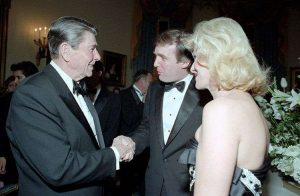 Left to right: Ronald Reagan, Donald J. Trump, and Ivana Trump at a 3 November 1987 White House reception
