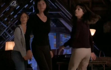 Figure 1: Still from Charmed 'Something Wicca This Way Comes' (Season 1, Episode 1). From left to right Phoebe (Alyssa Milano), Prue (Shannon Doherty), and Piper (Holly Marie Combs)
