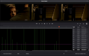 Fig 3. The scene detection interface in DaVinci Resolve 14. The purple, horizontal line represents the threshold at which shots will be recognised (the higher the line, the greater the difference between frames in order for the algorithm to recognise a cut, and vice versa).