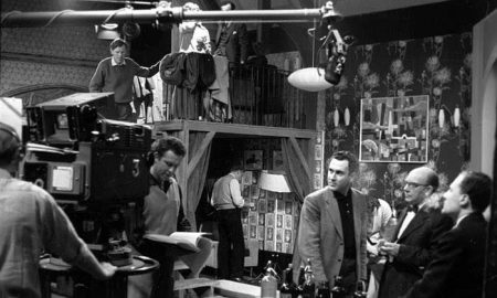 On the set of A Night Out, made by ABC for ITV in 1960. Pinter is third from the right.