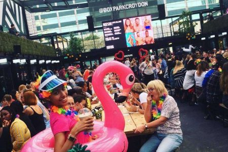Fig. 4: Public screening of Love Island in Boxpark, Croydon (UK)