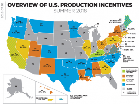 Overview of U.S. production incentives, Summer 2018. (C) Hollywood Reporter