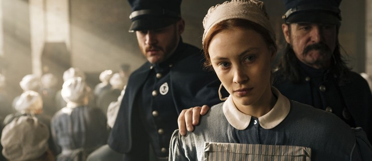 "Fig. 7: ""I will confess to having a wicked thought."" The lines between vice, virtue and sanity and insanity are blurred in Mary Harron's miniseries Alias Grace (CBS Television/Netflix, 2017), which employs flashback-narration, montages and sound hooks to create a sense of ambiguity, hinting at the dark underbelly beneath the seemingly orderly society."