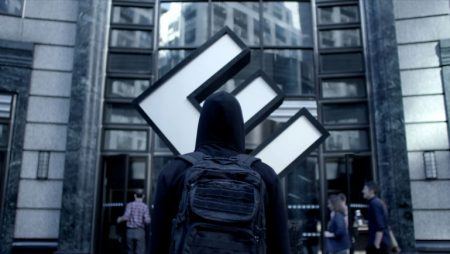 Elliot stands before the E(vil) Corp New York office