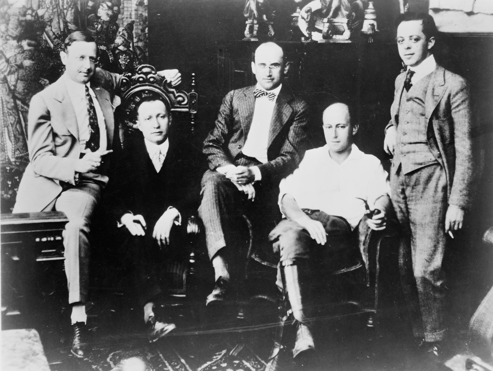Fig. 2: (Left to right is the executive team heading up the Famous Players-Lasky Corporation circa 1916) Jesse L. Lasky, Adolph Zukor, Samuel Goldwyn, Cecile B. DeMille, and Al Kaufman