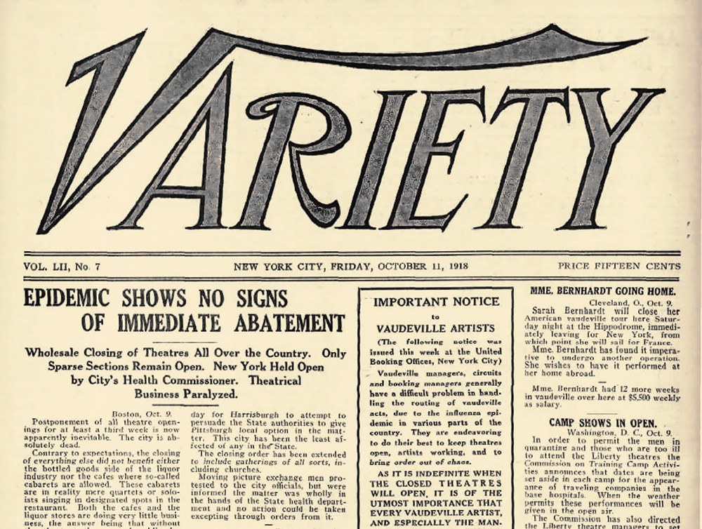 Fig. 1: Lead Story in the 11 October 1918 issue of Variety: 'Wholesale Closing of Theatres All Over the Country'