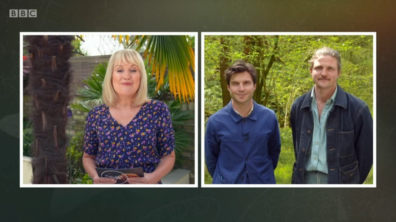 Fig. 2: presenters Nickie Chapman and David and Harry Rich for the RHS Chelsea Flower Show